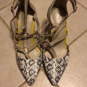 EUC Aldo snakeskin caged heels